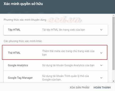 Một số cách đăng ký và xác minh công cụ Search Console cho website.